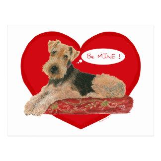 Airedale / Welsh Terrier Valentine Postcard