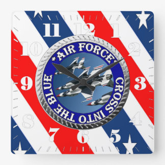AirForceFanMerch, Air Force Illustation Square Wall Clock