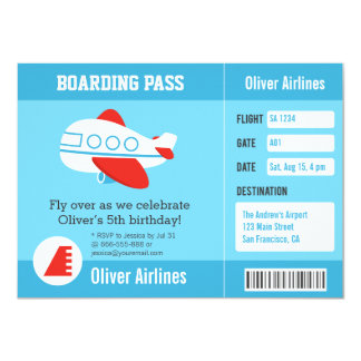 Airline Boarding Pass Birthday Party Invitations