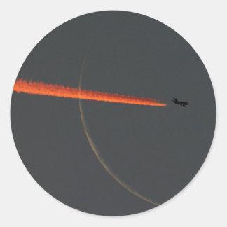 airline moon round stickers