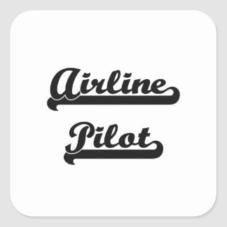 Airline Pilot Classic Job Design Square Sticker