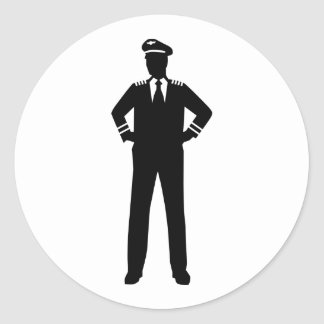 Airline pilot classic round sticker