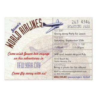 "Airline Ticket Bon Voyage Party Invitation 5"" X 7"" Invitation Card"