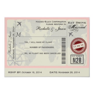 Airline Ticket Wedding RSVP 9 Cm X 13 Cm Invitation Card