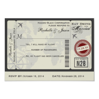 Airline Ticket Wedding RSVP Card