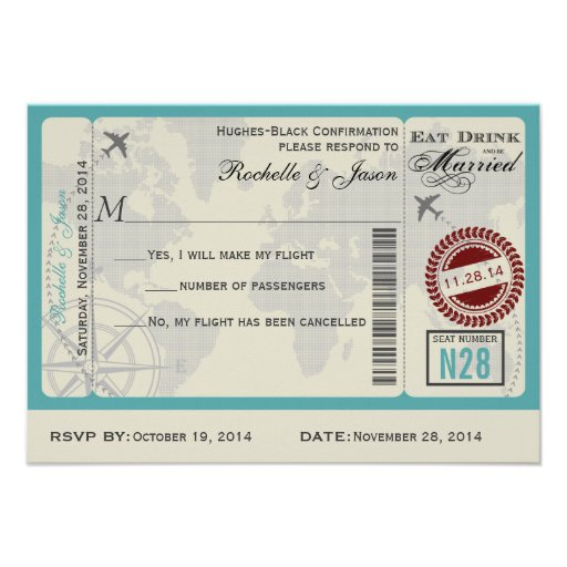 Airline Ticket Wedding RSVP Custom Invitation