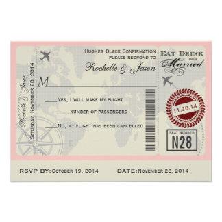 Airline Ticket Wedding RSVP Invitations