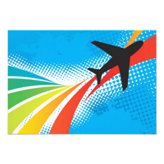 Airline Vacation Travel Abstract Halftone Custom Invitations