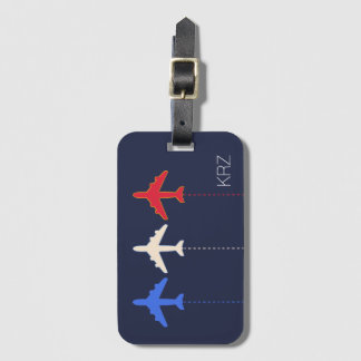airlines three airplanes luggage tag