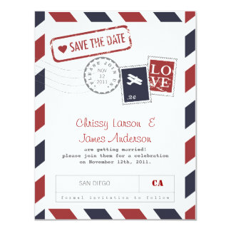 Airmail Card Save the Date
