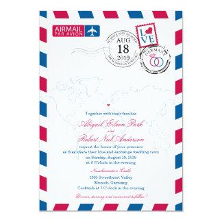 Airmail Germany Wedding 5x7 Paper Invitation Card