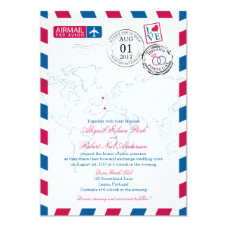 Airmail Heart Ireland and Portugal Wedding 13 Cm X 18 Cm Invitation Card