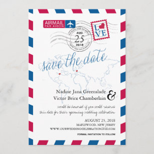 Airmail Heart New Jersey and France Save the Date