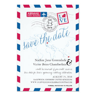 Airmail Heart UK and Austraila Save the Date 13 Cm X 18 Cm Invitation Card