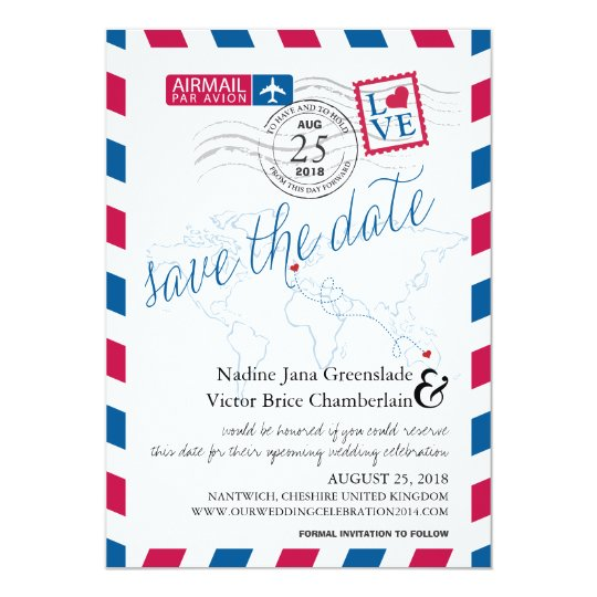Airmail Heart UK and Austraila Save the Date Card