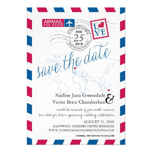 Airmail Heart UK and Austraila Save the Date Custom Announcement