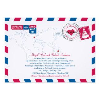 Airmail Heart UK and Austraila Wedding Invitations