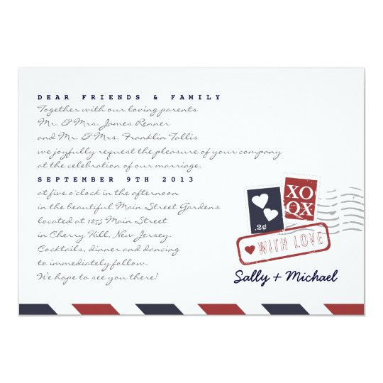 Airmail Love Letter Personalised Note Invitation