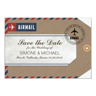 Airmail Luggage Tag Wedding Save Date Kraft Paper 9 Cm X 13 Cm Invitation Card
