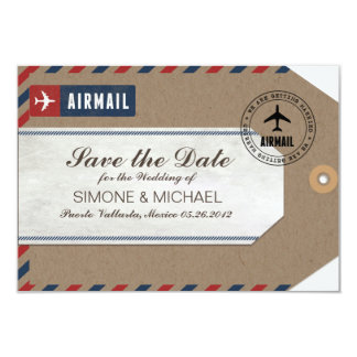 Airmail Luggage Tag Wedding Save Date Kraft Paper Card