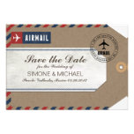 Airmail Luggage Tag Wedding Save Date Kraft Paper Announcements