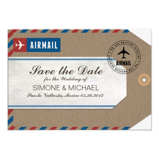 Airmail Luggage Tag Wedding Save Date Kraft Paper Personalized Invitation