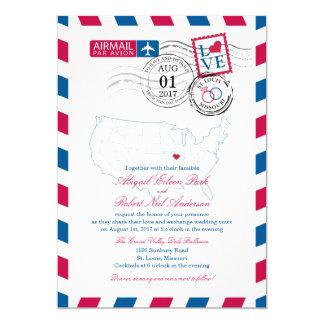 """Airmail Missouri Wedding 5"""" X 7"""" Invitation Card"""