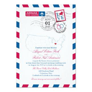 Airmail Ohio Wedding 5x7 Paper Invitation Card