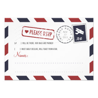 Airmail RSVP Card Personalized Invitations