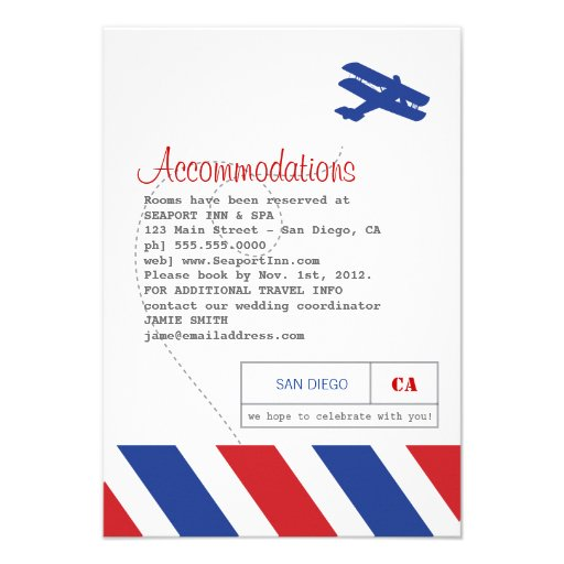 Airmail Travel and Hotel Insert Card