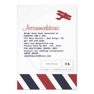 Airmail Travel and Hotel Insert Card Personalized Invitation