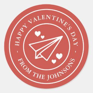Airmail Valentine Round Sticker