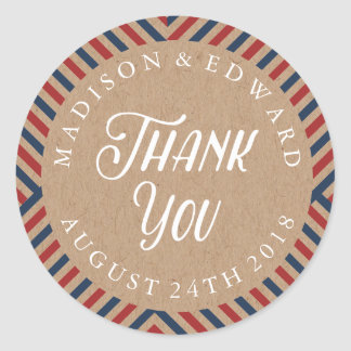 Airmail wedding favor sticker Thank You, kraft
