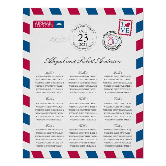 Airmail Wedding Guest Seating Chart