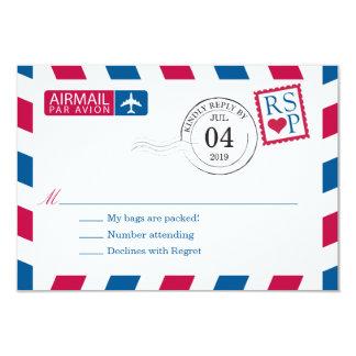 Airmail | Wedding RSVP 9 Cm X 13 Cm Invitation Card