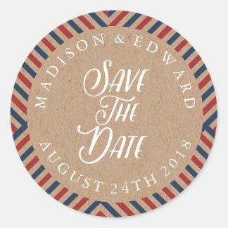 Airmail Wedding Save the Date Sticker, kraft Classic Round Sticker