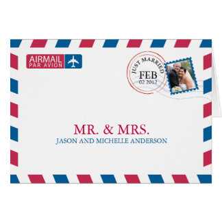 Airmail Wedding Thank You Card