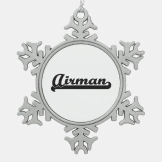 Airman Artistic Job Design Pewter Snowflake Decoration