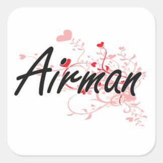 Airman Artistic Job Design with Hearts Square Sticker