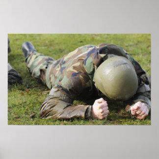 Airman crawls through a wet field print