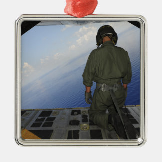 Airman observes the waters of the Gulf of Mexic Silver-Colored Square Decoration