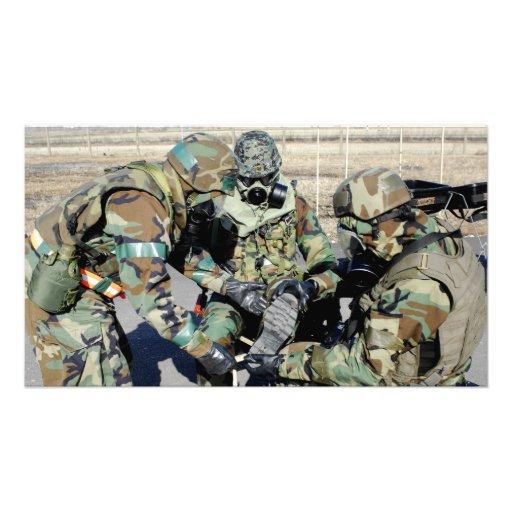 Airmen assist a Republic of Korea Army soldier Photo Art