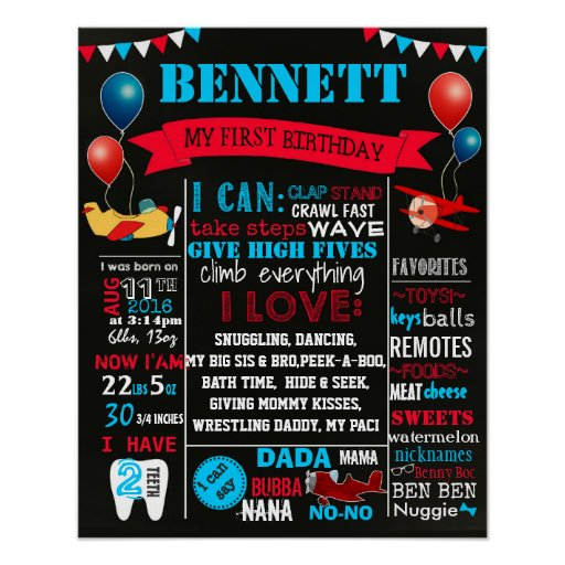 Airplains First Birthday chalkboard sign,16x20 Poster