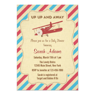 Airplane Baby Shower Invitation Red and Blue