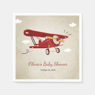 Airplane Baby Shower Napkin Adventure Travel Plane Disposable Serviettes