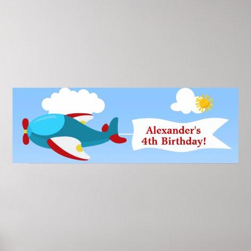 Airplane Banner Boy Birthday Banner Posters