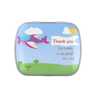 Airplane Banner Girl Thank You Candy Tins