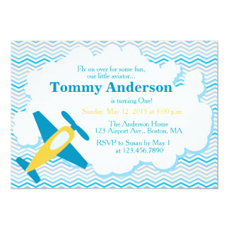 Airplane Birthday Party Invitation Chevron