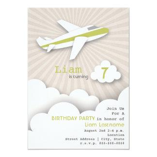 Airplane Birthday Party Invitation - Green