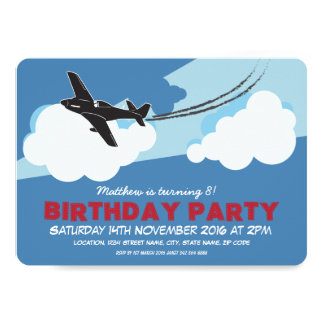 Airplane Blue Sky Clouds Custom Kids Birthday 13 Cm X 18 Cm Invitation Card